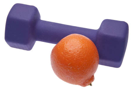 current events: An orange with a weight symbolizes the need to exercise to remain healthy.  Great for healthcare themes.