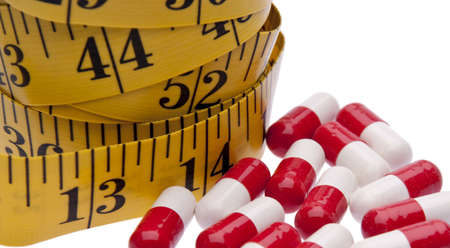 current events: Pills with a measuring tape to represent the Diet Pill Industry.