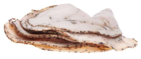 ひびの入ったコショウ トルコ ランチ肉コールド カット。クリッピング パスを白で隔離されます。