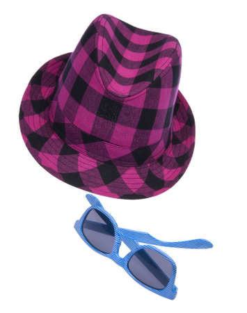 Hipster hat with blue sunglasses isolated on white with a clipping path. Stock Photo - 6518998