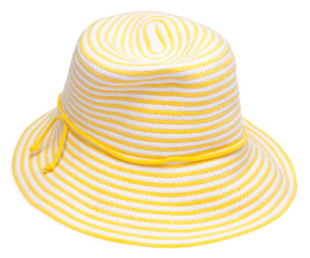 Yellow floppy hat perfect for a summer day at the beach.  Isolated on white with a clipping path.