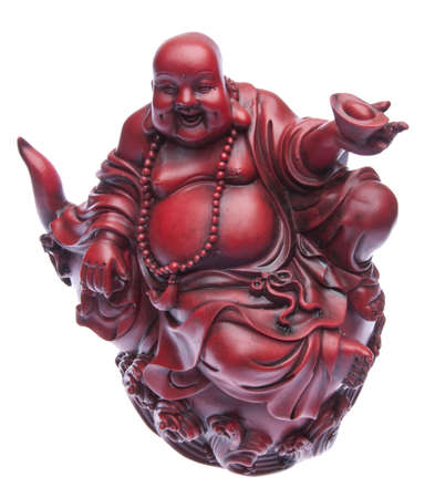buddah: Red happy fat buddah statue. Stock Photo