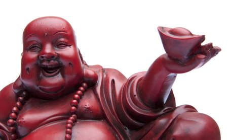 buddah: Face of Happy Buddah with Offering in Hand.  Isolated on white with a clipping path.