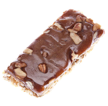protien: Healthy Energy Bar Isolated on White. Stock Photo