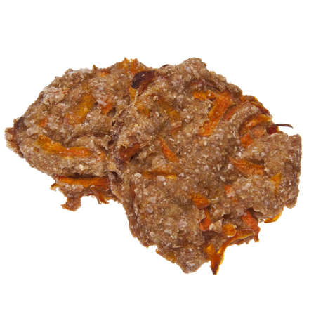 Pair of carrot cookies isolated on white photo