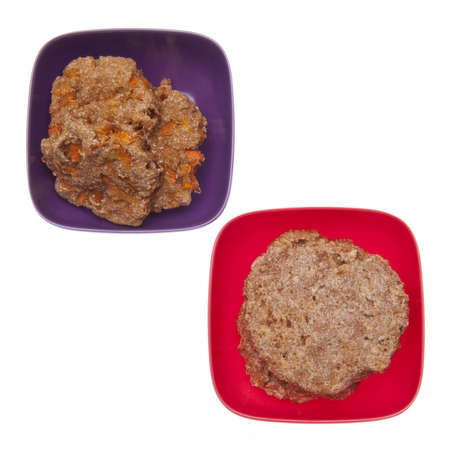 Pair of vibrant bowls with cookies.  The cookies op top have carrot details.   photo