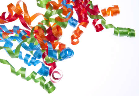 It's time to party! Streamers isolated on white. Stock Photo - 6680034
