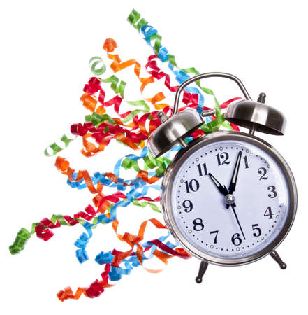 It's time to party! Clock and streamers isolated on white. Stock Photo - 6679692