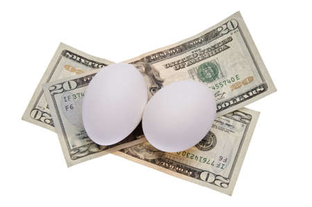 food staple: Eggs are a food staple with currency as a conceptual image of a persons food budget.