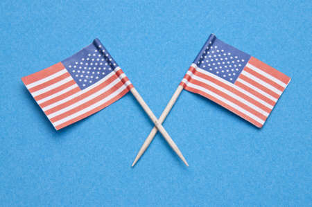 American Flag toothpicks on a blue background.  Great Pattic July 4th Image. Stock Photo - 6762640