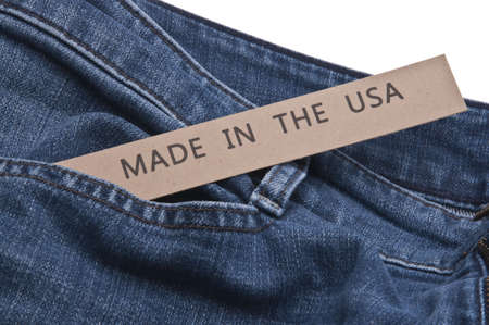 Denim Blue Jeans with Made in the USA tag. Reklamní fotografie