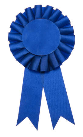 A blue ribbon is a symbol for success and first prize. Stock Photo