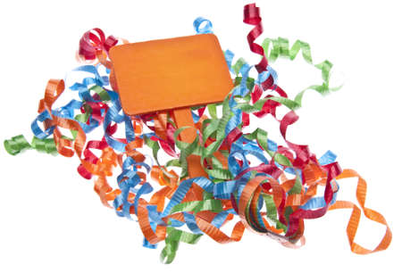 Streamers and Blank Orange Sign for Party Themed Images.