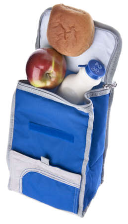 Healthy School Lunch Themed Image. Balanced Meal in an Environmentally Friendly Lunch Bag. photo