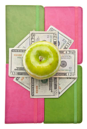 Apples, Books and Money for Health Care and Education Themed Images. Stock Photo - 6881368
