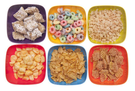 Variety of Breakfast Cereal in Vibrant Bowls photo