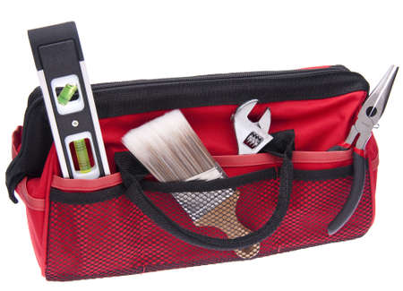 Home Improvement Scene. Red Tool Box with Tools Stock Photo - 6882708