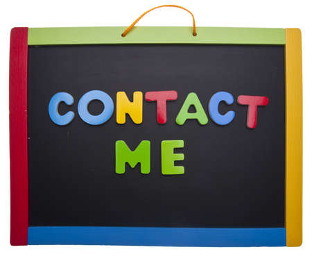 contact: Contact Me in Bright Colors on a School Chalkboard. Isolated on White