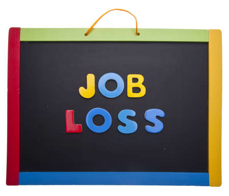 current events: Lesson on Job Loss in Bright Letters on a Colorful Chalkboard. Isolated on White