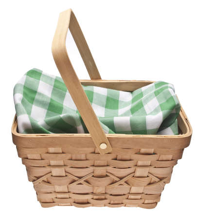 Summer Picnic Scene.  Basket with Checkered Blanket Isolated on White photo