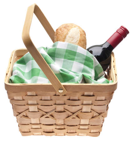 basket: Summer Picnic Scene with Bread, Red Wine and a Picnic Basket.  Isolated on White  Stock Photo