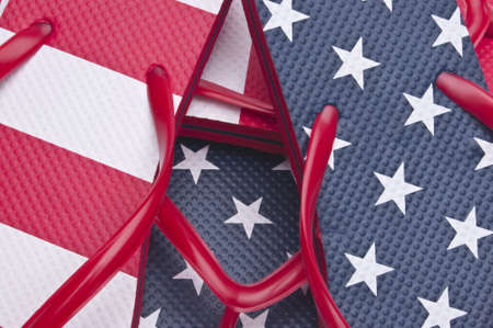 Patriotic Red White and Blue Flip Flop Sandals Ready for the 4th of July! Stock Photo - 6981273