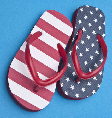Patriotic Red White and Blue Flip Flop Sandals Ready for the 4th of July! Stock Photo - 6981269