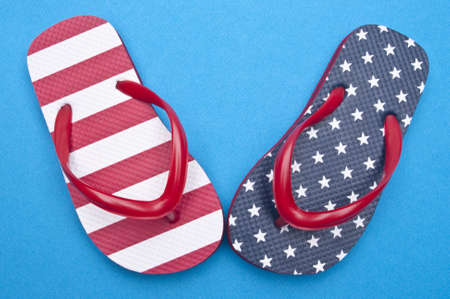 Patriotic Red White and Blue Flip Flop Sandals Ready for the 4th of July! Stock Photo - 6981272