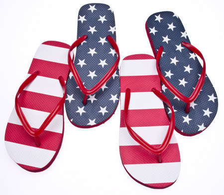 Patriotic Red White and Blue Flip Flop Sandals Ready for the 4th of July! Isolated on White Stock Photo - 6981266