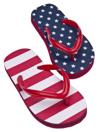 Patriotic Red White and Blue Flip Flop Sandals Ready for the 4th of July! Isolated on White Stock Photo - 6981261