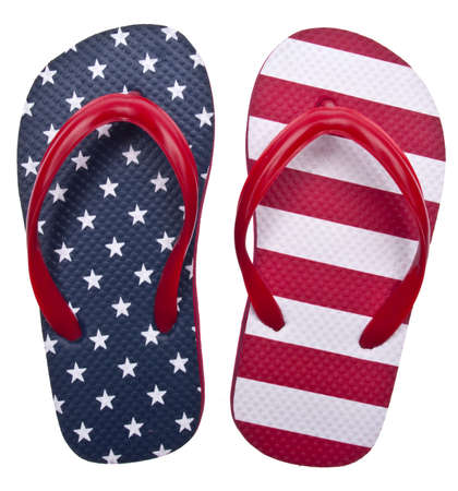 Patriotic Red White and Blue Flip Flop Sandals Ready for the 4th of July!  Isolated on White  Stock Photo - 6981257