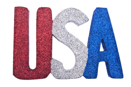 USA in Glitter Red White and Blue Isolated on White  Stock Photo - 7065374