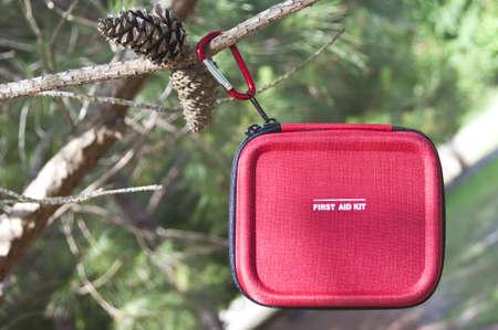 Trousse de premiers soins de taille pour le camping dans un décor naturel de voyage. Banque d'images - 7065379