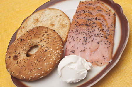 peppered: Peppered Smoked Salmon with Bagel and Cream Cheese Stock Photo