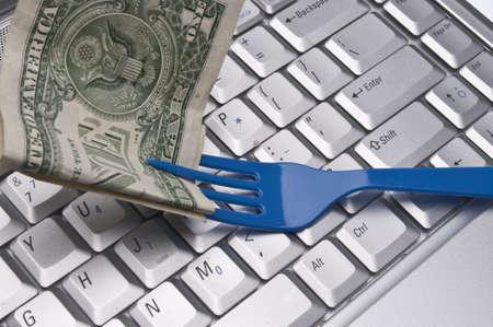 Ordering Food on the Internet Conceptual Image. Reklamní fotografie