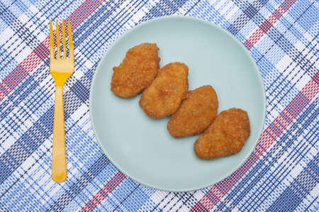 Vibrant Kid Friendly Chicken Nugget Dinner or Snack. Stock Photo - 7112377