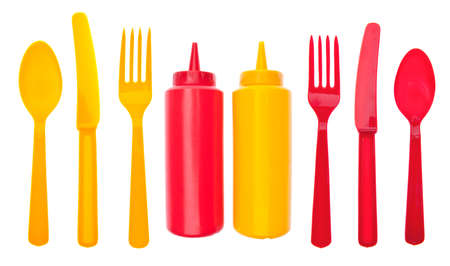 Summer Picnic Concept with Bottles of Ketchup and Mustard.
