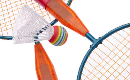 Vibrant Badminton Equipment Close Up of Raquets and Shuttlecock / Birdie Stock Photo - 7133335
