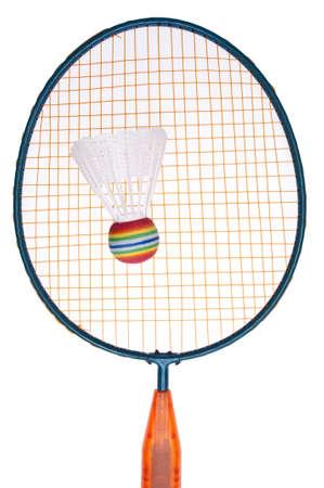 raquet: Vibrant Badminton Equipment Raquet with Shuttlecock or Birdie