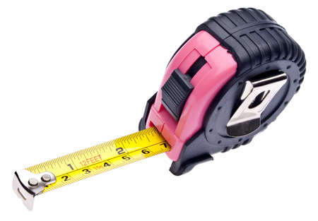 Pink Tape Measure Isolated on White for Women.  Feminine Colored Tools. Stock Photo