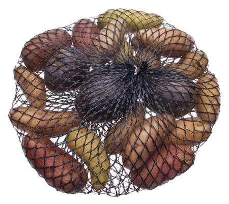 mesh: Fingerling Artisan Heritage Potatoes in a Mesh Bag.