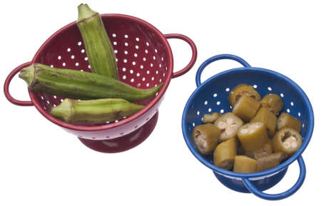 Fresh and Canned Okra in Vibrant Colanders  photo