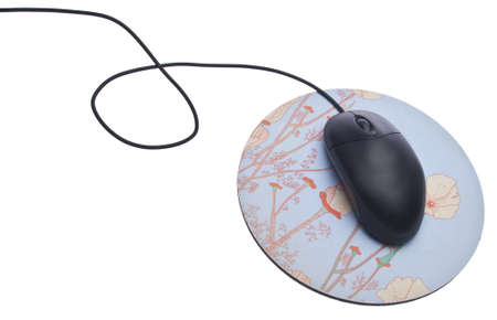 Black Computer Mouse with Mousepad Isolated on White  版權商用圖片