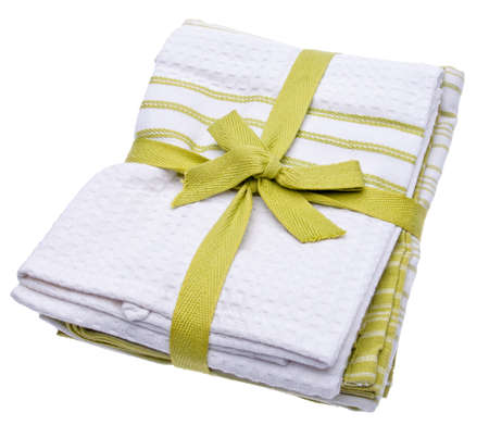Stack of Green Cleaning Towels for Environmentally Friendly Cleaning Concepts.