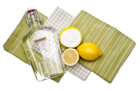 Lemons, Baking Soda and Vinegar are all Natural Environmentally Friendly Ways to Clean Your Home. Standard-Bild