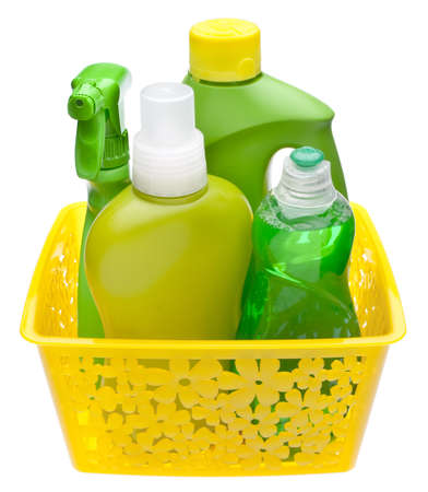Colorful Group of Green Cleaning Supplies for Natural and Environmentally Friendly Cleaning Themes.