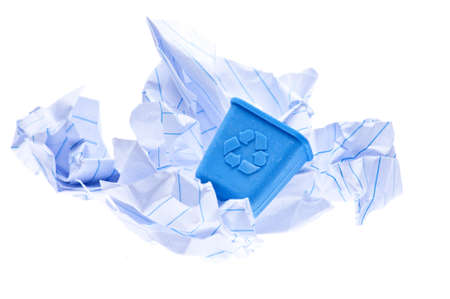 Recycle Concept with Small Blue Recycle Bin and Large Pieces of Crumpled Paper Trash.white