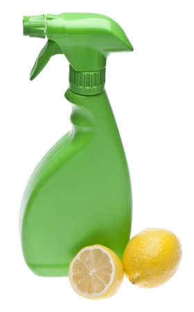 Lemons are a Natural Environmentally Friendly Way to Clean Your Home.  File is Isolated on White  photo