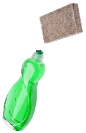 Green Cleaning Bottles with Sponge Made of Natural Fibers for Environmentally Friendly Cleaning Concepts Imagens