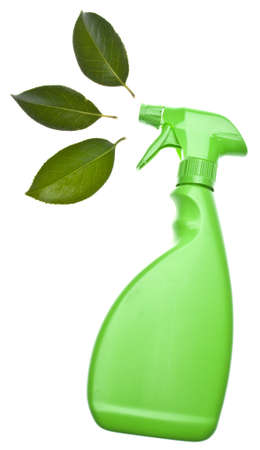 Green Spray Bottle with Leaf Spray for Environmentally Friendly Natural Cleaning Concepts. Фото со стока